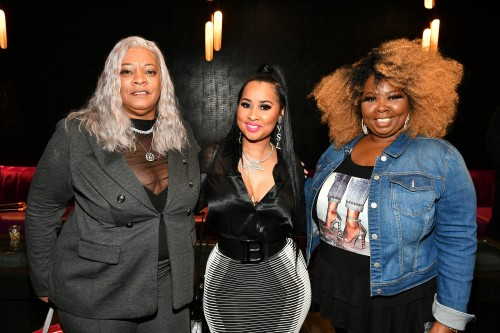 "ATLANTA, GEORGIA - MARCH 10: (L-R) Debra Antney, Tammy Rivera, and Mona Smith attend the premiere of ""Waka & Tammy: What The Flocka"" at Republic on March 10, 2020 in Atlanta, Georgia. (Photo by Paras Griffin/Getty Images WE tv)"