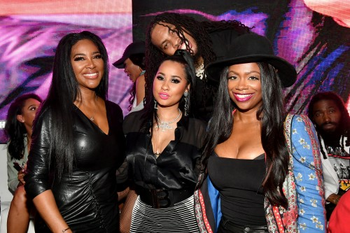 "ATLANTA, GEORGIA - MARCH 10: (L-R) Kenya Moore, Tammy Rivera, Kandi Burruss, and Waka Flocka attend the premiere of ""Waka & Tammy: What The Flocka"" at Republic on March 10, 2020 in Atlanta, Georgia. (Photo by Paras Griffin/Getty Images WE tv)"