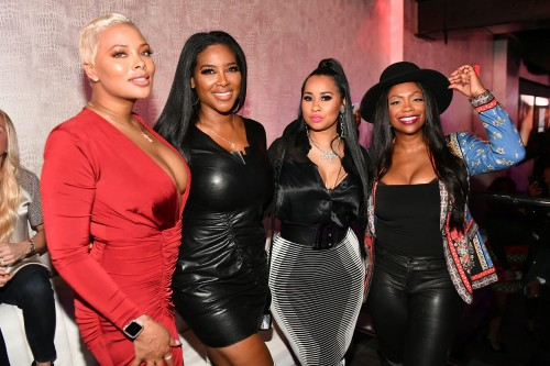 "ATLANTA, GEORGIA - MARCH 10: (L-R) Eva Marcille, Kenya Moore, Tammy Rivera, and Kandi Burruss attend the premiere of ""Waka & Tammy: What The Flocka"" at Republic on March 10, 2020 in Atlanta, Georgia. (Photo by Paras Griffin/Getty Images WE tv)"