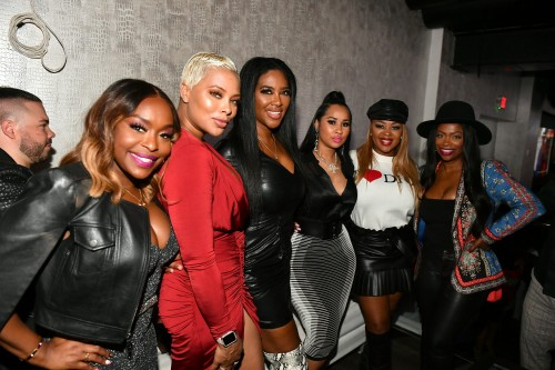 "ATLANTA, GEORGIA - MARCH 10: (L-R) Quad Webb, Eva Marcille, Kenya Moore, Tammy Rivera, Princess Banton-Lofters, and Kandi Burruss attend the premiere of ""Waka & Tammy: What The Flocka"" at Republic on March 10, 2020 in Atlanta, Georgia. (Photo by Paras Griffin/Getty Images WE tv)"