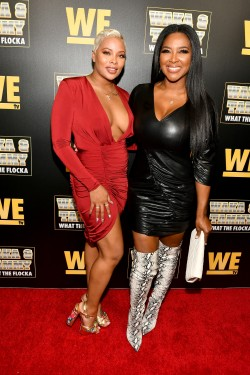 "ATLANTA, GEORGIA - MARCH 10: Eva Marcille and Kenya Moore attend the premiere of ""Waka & Tammy: What The Flocka"" at Republic on March 10, 2020 in Atlanta, Georgia. (Photo by Paras Griffin/Getty Images WE tv)"