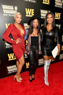 "ATLANTA, GEORGIA - MARCH 10: (L-R) Eva Marcille, Kandi Burruss, and Kenya Moore attend the premiere of ""Waka & Tammy: What The Flocka"" at Republic on March 10, 2020 in Atlanta, Georgia. (Photo by Paras Griffin/Getty Images WE tv)"