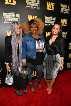 "ATLANTA, GEORGIA - MARCH 10: (L-R) Charlie Rivera, Mona Smith, and Tammy Rivera attend the premiere of ""Waka & Tammy: What The Flocka"" at Republic on March 10, 2020 in Atlanta, Georgia. (Photo by Paras Griffin/Getty Images WE tv)"